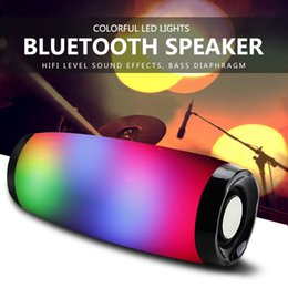 Boom de mic online-Altavoz Bluetooth inalámbrico LED Boom Box Portable Bajo Columna Subwoffer Caja de sonido con micrófono Soporte TF FM USB