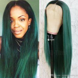 2019 devant en dentelle synthétique vert foncé Longs cheveux raides Ombre Vert Couleur foncé Root Lace Front perruques sans colle perruques synthétiques résistant à la chaleur synthétique avant pour les femmes promotion devant en dentelle synthétique vert foncé