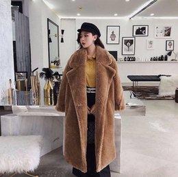 Épais manteaux chauds d'hiver en Ligne-Rose long Ours en peluche manteau de veste de femmes d'hiver chaud épais surdimensionné Chunky Manteaux Pardessus femmes Faux manteaux de fourrure en laine d'agneau