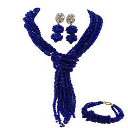 Boucles d'oreilles bleues en Ligne-Mode Royal Blue Africain Perles Ensemble De Bijoux Accessoires De Mariage Cristal Perlé Collier Bracelet Boucles D'oreilles Ensembles 10WJK04