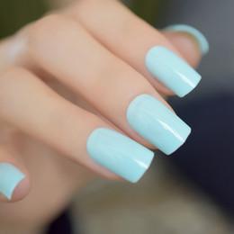 Gel nails dicas verdes on-line-Luz Verde Unhas Postiças UV Gel Quadrado Doces Cor Unhas Postiças Faux Ongles Dicas de Dedo Adesivos Para Salão de Beleza Da Arte Do Prego