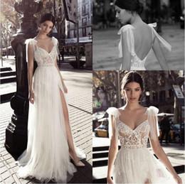 Diosas griegas vestidos de novia online-Gali Karten 2020 vestidos de boda del espagueti de las correas de lado alto de Split Sin espalda Vestidos de novia de encaje diosa griega Una línea de vestido de novia