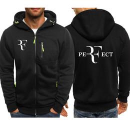 Roger federer online-Moda Roger Federer RF Imprimir Hoodies Hombres Casual Hip Hop Harajuku Fleece jacket Mens zipper Hoodie Sudaderas con capucha Ropa