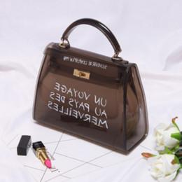 Handtasche goldfarbe online-HIVICKY Frauen Transparente Tasche PVC Candy Farbe Damen Handtaschen Gelee Klar Umhängetaschen Geldbörse Große Kapazität Cross Body