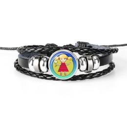 Gioielli di vergine online-New Fashion Leather Rope Beaded Wrap Coppie Bracciale per le donne Mens 12 Oroscopo Zodiac Virgo Time Gemma di vetro Simple Statement Jewelry 2019