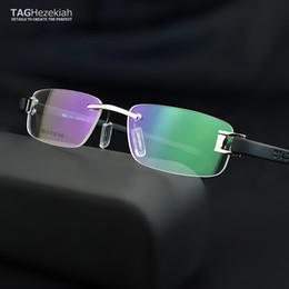 Frameless óculos de armação homens TAG óculos Marca quadros homens Miopia computador vidros ópticos moldura ultraleves movimento óculos de Fornecedores de lentes 43mm