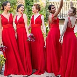 25b7b996d125 2019 vestiti chiffoni rossi sexy dalla damigella d onore 2019 chiffon rosso  scollo a V