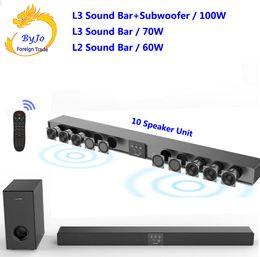 palestrantes de teatro Desconto Amoi L3 L2 Soundbar Suspensão de parede de madeira pura speaker tv bar som 5.1 home theater Subwoofer Bluetooth 3D surround sound 10 horn Integrar