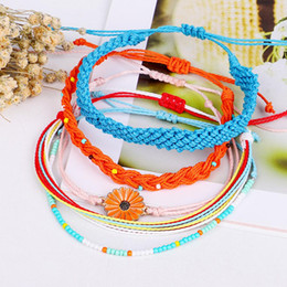 Комплекты ювелирных изделий для подсолнечника онлайн-4/5Pcs Unisex Handmade Wax Rope Sunflower Bead Braided Adjustable Bracelet Set Jewelry Woman's accesories