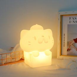 glückliche katze leuchtet Rabatt Kinder Tier Cartoon Glückliche Katze LED Nachtlicht Dekoration Weihnachtsgeschenk Baby Nacht Fütterung Tischlampe USB Lade