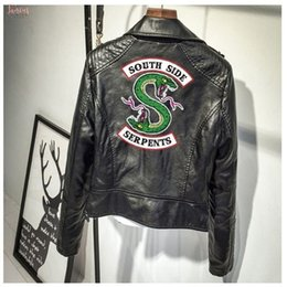 Riverdale SOUTHSIDE serpenti snake Patch Donna Nero Giacca in Pelle per Moto