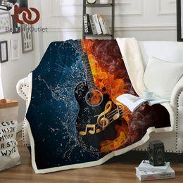 fogo de guitarra Desconto BeddingOutlet Fire And Water Sherpa Blanket Guitarra baixa de pelúcia macia lançar cobertor Música Fina Quilt da Juventude 3D Impresso Cama