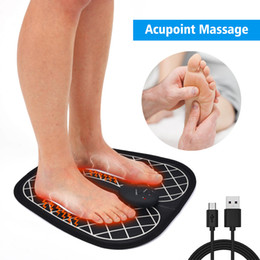 Ems maschine muskelstimulator online-Electric EMS Foot Massage Pad Feet Acupuncture Stimulator Pulse Muscle Massager Feet Massage Cushion Usb Foot Care Tool Machine