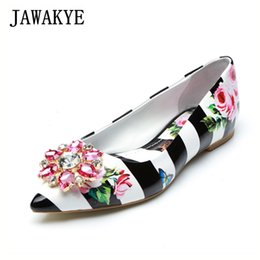 60fb76775397e 2019 Sweet crystal decoration flower printing women pumps pointed toe lazy  shoes black white pink casual wear slip on flat shoes