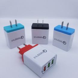 cinta de antena Rebajas Portátil QC3.0 QC 3.0 Cargador de pared de 3 puertos USB multi del recorrido del adaptador de carga rápida de la UE de EE.UU. 3USB de carga rápida para el teléfono móvil Samsung Huawei
