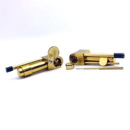 2019 outil de tabac Laiton Proto Pipe Métal Fumer Pipe 3,9 Pouces Tuyaux Portables avec Outil De Nettoyage Doré Huile De Tuyau De Tabac Huile Herb Bubbler Tuyaux En Verre