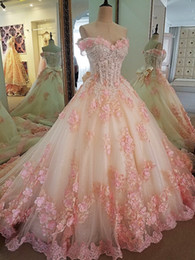 Ball Gown Princess Wedding Dresses Sweatheart Heart With 3d Flower Bridal Gowns Tiered Skirt Princess Vestidos De Novia Quinceanera Dresses