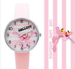 relógio da escola Desconto Relógios Rosa Feminino Panther Student relógios dos desenhos animados impermeável para Crianças Junior High School presente Quartz