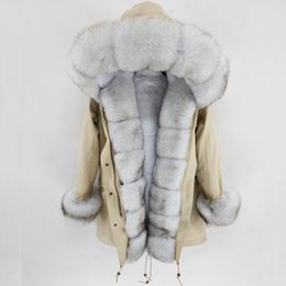 Abrigo de cuello de piel de zorro azul online-Chaqueta S-7XL Nueva capa del invierno de las mujeres reales piel natural real Blue Fox cuello de piel a largo Parka pieles de grandes prendas de vestir exteriores desmontable Streetwear T191028