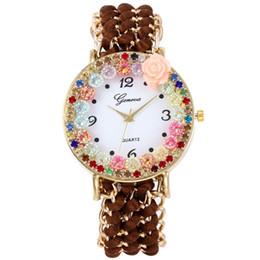 2019 montre bracelet multicouche 2018 New Genève Bracelet montre de luxe Multilayer perle chaîne Quartz Mesdames Party Mode féminine Montre-bracelet Relojes montre bracelet multicouche pas cher