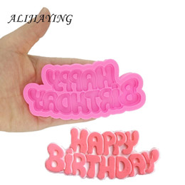 fondant shaped letters Coupons - DIY Happy birthday shape Sugarcraft Silicone Molds letter Gumpaste Chocolate Fondant Cake Decorating Tools wholesale D1333