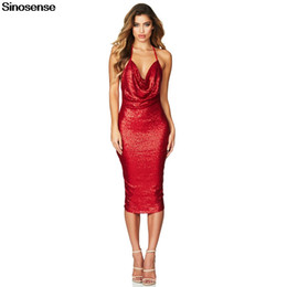 60e762e3f983 Sexy V Neck Sequin Glitter Bodycon Stretchy Midi Party Dress 2019 Spaghetti  Strap Backless Red Blue Black Evening Prom Gown
