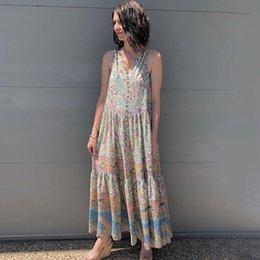 e481aed1b8d vente en gros Oasis Maxi Dress Gypsy Imprimer Maxi Robes col V sans manches  gilet Plage Longue Robe boutonnée devant Rock-chic Femmes Robes