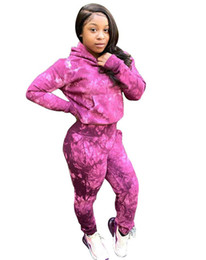 Lila sportkleidung online-Marke Designer Frauen Hoodie 2 Stück Set Stickerei Trainingsanzug Leggings Outfits Sweatshirt Sportswear Hose Pullover Sweatanzug lila
