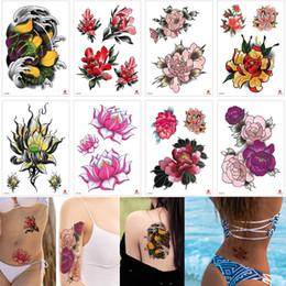 Tatuagens coloridas on-line-Pequena flor tatuagem desenho colorido à prova d 'água desenhos temporários flor de lótus peônia decalque braço de volta as mãos para a mulher meninas tatuagem etiqueta presente