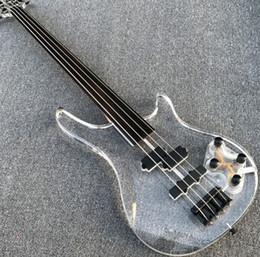 fretless gitarren Rabatt Ebenholz Fretless Bass, 4-saitige E-Bassgitarre, transparenter Körper, Kopf mit LED-Licht, schwarze Hardware