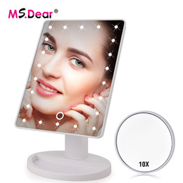 стоять на экранах Скидка 16/22 LEDs Light Touch Screen Makeup Mirror 10X Magnifying Rotatable Vanity Square Desk Stand Cosmetic Mirror Make Up Tools