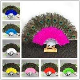 2019 abanico de baile de plumas de pavo real Moda creativa Decoración para el hogar Danza Plumas Ventiladores Danza del vientre Fan Boda Pavo real Ventiladores abanico de baile de plumas de pavo real baratos