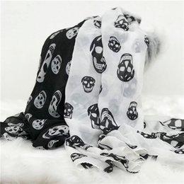 signore alla moda sciarpa di seta nuova dimensione del cranio classico di moda di alta qualità in bianco e nero due colori da