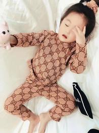 Pijamas de algodón para niños online-bebé Niñas niños Pijamas con banda para el cabello Algodón 2019 Primavera otoño Tops + pantalones Conjunto de dos piezas Niño pequeño Pijamas para el hogar Traje de jersey para niños