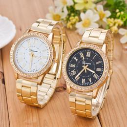 orologi del diamante di ginevra del mens Sconti GINEVRA Top della vigilanza degli uomini di moda del diamante Acciaio Mens Orologi in oro Maschio Orologio relogio masculino Reloj hombre