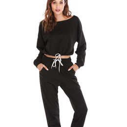 Printemps noir tenues femmes en Ligne-Printemps Femmes Maillot De Bain Noir Cordon Massif Deux Pièces Ensemble Femme Survêtement Filles 2 Pièce Ensembles Dames Tenues Sportwear Chaud