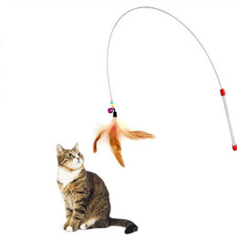 funny beads Promo Codes - Pet Cat Toy Cute Funny Design Steel Wire Feather Teaser Wand Plastic Toy for cats Wand Beads Play