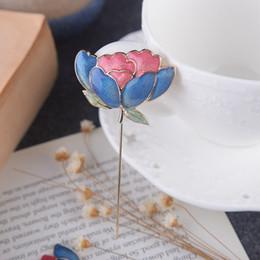 Pasadores bufanda de china online-Vintage Lotus Broche Hombres y Mujeres Mantón Botones Bufanda Hojas de Metal Broche Estilo Chino Epoxi Calidad Traje Pins