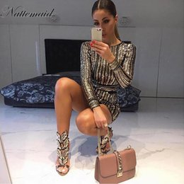 vestido de rayas clubwear Rebajas Nattemaid 2019 manga larga mini vestido de lentejuelas mujer a rayas vestidos ajustados vestidos fiesta de clubwear fiesta sexy dress q190409