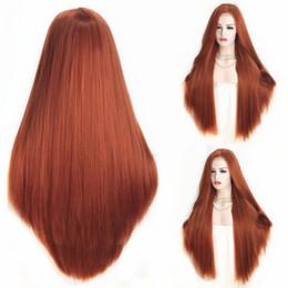 Pelo cobrizo rojo online-Hairline natural 26 pulgadas de largo recto de cobre rojo peluca delantera del cordón sintético Alta temperatura Cosplay pelo parte media pelucas llenas para las mujeres