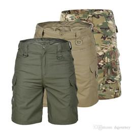 taktische shorts Rabatt Männer Tourismus Wandern Shorts Quick Dry Großer Multi Pocket loses Außenklettertraining Tactical Camouflage Cargo Shorts Hosen
