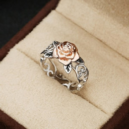 2019 joyería sólida 14k Exquisito 925 Anillo de Plata Esterlina Floral Sólido 14 k Rosegold Flor Joyería Doble Color Plateado Anillos de Boda para Mujeres Tamaño 5 - 10 joyería sólida 14k baratos