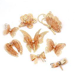 Arte do prego do champanhe on-line-decorativos brilho 10pcs / lot Champagne oco encanto da borboleta 3D Decorações Nail Glitter Alloy Jóias Pedrinhas DIY unhas Tools Art Studs