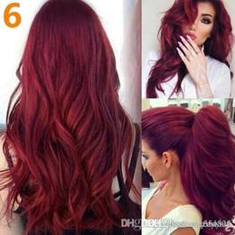 2019 pelucas de moda new wave New Fashion 7 Style Black Long Wave Wigs Center Parting Pink Loose Curly Wig + (redecilla para el cabello) pelucas de moda new wave baratos