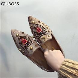 scarpe da ballo scarpe fatte a mano Sconti QIUBOSS 2018 Elegante moda delle donne Ballet Shoes pattini di svago a mano a punta semplici Flats donne Q531