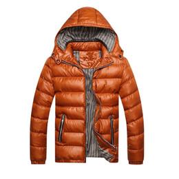 Cappotto termico lungo online-Uomo Inverno spessore caldo Giacche Cappotti Cotone Moda termica Spesso parka maschio casuale a maniche lunghe con cappuccio Outwears Windbreaker