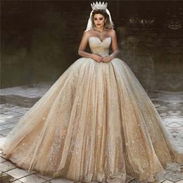 d1d8889088cb2 Lüks Arapça Altın Sequins Abiye giyim 2019 Prenses Balo Kraliyet Sevgiliye  Boncuk Sparkly Prenses Balo Elbise