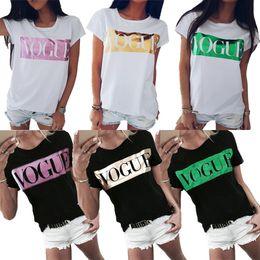 Mektup Vogue T Shirt Yuvarlak Boyun Kısa Kollu Gömlek Tops Tees Tops Moda Yaz Kadın Giyim Siyah Beyaz dropship 220187 nereden