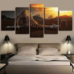 arte moderna do girafa da arte da lona Desconto 5 Painéis Giraffes engraçado obras de arte modernas giclée Canvas Art parede para Poster Abstract Kid Início Wall Decor cópia da lona Pintura a óleo