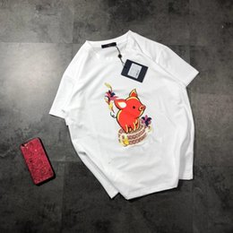 summer shirts designs flowers print Coupons - 2019 Summer New Brand Design Letter Printing Flower Red Pig Bag O-Neck Women T-shirts Summer T Shirt For Women Runway Top Tees